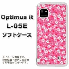 docomo Optimus it L-05E TPU ソフトケース / やわらかカバー【065 さくら 素材ホワイト】 UV印刷 (オプティマス it/L05E用)