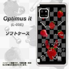 docomo Optimus it L-05E TPU ソフトケース / やわらかカバー【AG833 苺パンク(黒) 素材ホワイト】 UV印刷 (オプティマス it/L05E用)