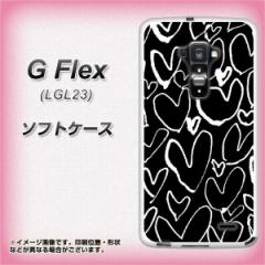 au G Flex LGL23 TPU ソフトケース / やわらかカバー【1124 ハート BK&WH 素材ホワイト】 UV印刷 (Gフレックス/LGL23用)