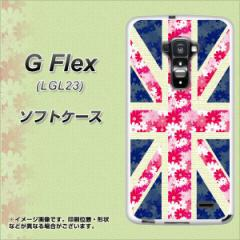 au G Flex LGL23 TPU ソフトケース / やわらかカバー【EK894 ユニオンジャック フラワー 素材ホワイト】 UV印刷 (Gフレックス/LGL23用)