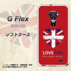 au G Flex LGL23 TPU ソフトケース / やわらかカバー【SC804 ユニオンジャック ハートビンテージレッド 素材ホワイト】 UV印刷 (Gフレッ