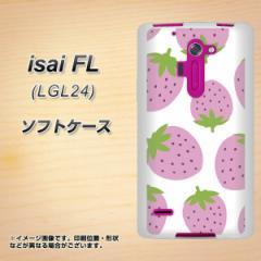 au isai FL LGL24 TPU ソフトケース / やわらかカバー【SC816 大きいイチゴ模様 ピンク 素材ホワイト】 UV印刷 (au イサイFL LGL24/LGL2