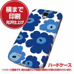docomo Galaxy S4 SC-04E ハードケース【まるっと印刷 SC833 ルーズフラワー ホワイト×ブルー 光沢仕上げ】横まで印刷