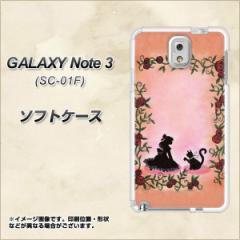 GALAXY Note 3 SC-01F / SCL22 共用 TPU ソフトケース / やわらかカバー【1096 お姫様とネコ(カラー) 素材ホワイト】 UV印刷