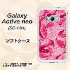 Galaxy Active neo SC-01H TPU ソフトケース / やわらかカバー【SC847 フラワーヴェルニ花濃いピンク 素材ホワイト】 UV印刷 (ギャラク