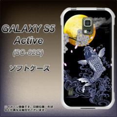 docomo GALAXY S5 Active SC-02G TPU ソフトケース / やわらかカバー【1030 月と鯉 素材ホワイト】 UV印刷 (ギャラクシーS5 アクティブ/