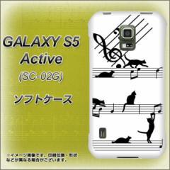 docomo GALAXY S5 Active SC-02G TPU ソフトケース / やわらかカバー【1112 音符とじゃれるネコ2 素材ホワイト】 UV印刷 (ギャラクシーS
