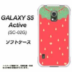 docomo GALAXY S5 Active SC-02G TPU ソフトケース / やわらかカバー【MI800 strawberry ストロベリー 素材ホワイト】 UV印刷 (ギャラク