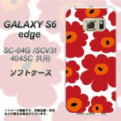 GALAXY S6 edge SC-04G / SCV31 / 404SC TPU ソフトケース / やわらかカバー【SC835 ルーズフラワー ホワイト×レッド 素材ホワイト】 UV