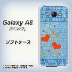 Galaxy A8 SCV32 TPU ソフトケース / やわらかカバー【VA863 デニムとハートの花 素材ホワイト】 UV印刷 (ギャラクシー エーエイト SCV3