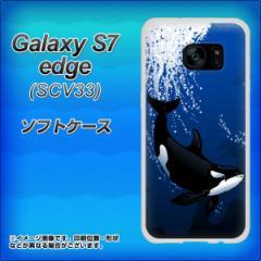 au Galaxy S7 edge SCV33 TPU ソフトケース / やわらかカバー【423 シャチ 素材ホワイト】 UV印刷 (ギャラクシーS7 エッジ SCV33/SCV33