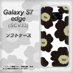 au Galaxy S7 edge SCV33 TPU ソフトケース / やわらかカバー【VA953 花柄 マリメッコ ブラック 素材ホワイト】 UV印刷 (ギャラクシーS7