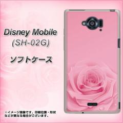 docomo Disney Mobile SH-02G TPU ソフトケース / やわらかカバー【401 ピンクのバラ 素材ホワイト】 UV印刷 (ディズニー モバイル/SH02