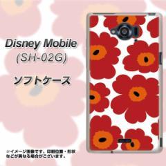 docomo Disney Mobile SH-02G TPU ソフトケース / やわらかカバー【SC835 ルーズフラワー ホワイト×レッド 素材ホワイト】 UV印刷 (デ