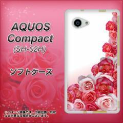 AQUOS Compact SH-02H TPU ソフトケース / やわらかカバー【299 薔薇の壁 素材ホワイト】 UV印刷 (アクオスコンパクト SH-02H/SH02H用)