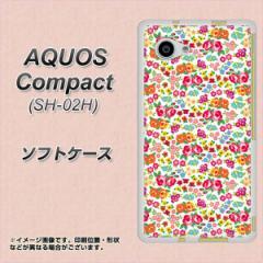 AQUOS Compact SH-02H TPU ソフトケース / やわらかカバー【777 マイクロリバティプリントWH 素材ホワイト】 UV印刷 (アクオスコンパク
