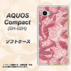 AQUOS Compact SH-02H TPU ソフトケース / やわらかカバー【SC846 フラワーヴェルニ花ピンク 素材ホワイト】 UV印刷 (アクオスコンパク