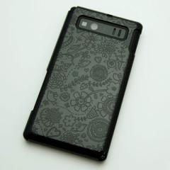AQUOS PHONE SHL21 ケース 凸凹 スマホケース【323 小鳥と花(ブラック)】(アクオスフォン/SHL21)