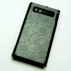 AQUOS PHONE SHL21 ケース 凸凹 スマホケース【323 小鳥と花(クリア)】(アクオスフォン/SHL21)