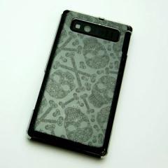 AQUOS PHONE SHL21 ケース 凸凹 スマホケース【363 ドクロの刺青(クリア)】(アクオスフォン/SHL21)