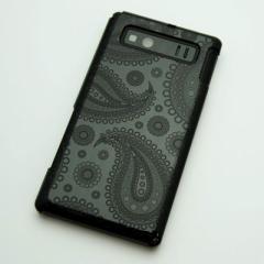 AQUOS PHONE SHL21 ケース 凸凹 スマホケース【421 ペイズリー(ブラック)】(アクオスフォン/SHL21)