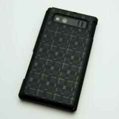 AQUOS PHONE SHL21 ケース 凸凹 スマホケース【494 格子(ブラック)】(アクオスフォン/SHL21)