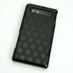 AQUOS PHONE SHL21 ケース 凸凹 スマホケース【685 亀甲(ブラック)】(アクオスフォン/SHL21)