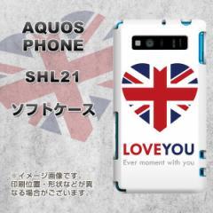 AQUOS PHONE SERIE SHL21 TPU ソフトケース / やわらかカバー【SC802 ユニオンジャック ハート 素材ホワイト】 UV印刷 (アクオスフォンS
