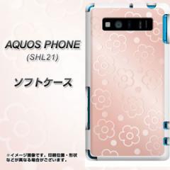AQUOS PHONE SERIE SHL21 TPU ソフトケース / やわらかカバー【SC843 エンボス風デイジードット(ローズピンク) 素材ホワイト】 UV印刷 (