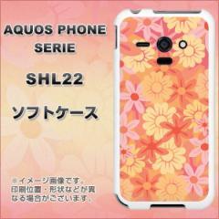 au AQUOS PHONE SERIE SHL22 TPU ソフトケース / やわらかカバー【717 はんなり色の花 素材ホワイト】 UV印刷 (アクオスフォンSERIE/SHL