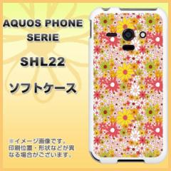 au AQUOS PHONE SERIE SHL22 TPU ソフトケース / やわらかカバー【747 花畑B 素材ホワイト】 UV印刷 (アクオスフォンSERIE/SHL22用)