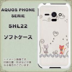 au AQUOS PHONE SERIE SHL22 TPU ソフトケース / やわらかカバー【1103 クラフト写真 ネコ (ワイヤー1) 素材ホワイト】 UV印刷 (アクオ