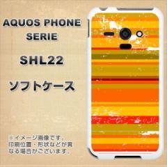 au AQUOS PHONE SERIE SHL22 TPU ソフトケース / やわらかカバー【1320 ビンテージボーダー オレンジ 素材ホワイト】 UV印刷 (アクオス