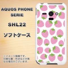 au AQUOS PHONE SERIE SHL22 TPU ソフトケース / やわらかカバー【SC809 小さいイチゴ模様 ピンク 素材ホワイト】 UV印刷 (アクオスフォ