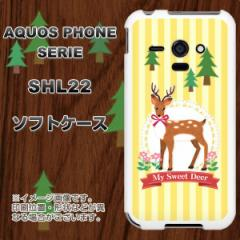 au AQUOS PHONE SERIE SHL22 TPU ソフトケース / やわらかカバー【SC826 森の鹿 素材ホワイト】 UV印刷 (アクオスフォンSERIE/SHL22用)