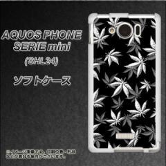 au AQUOS PHONE SERIE mini SHL24 TPU ソフトケース / やわらかカバー【064 モノトーン大麻ブラック 素材ホワイト】 UV印刷 (アクオスフ