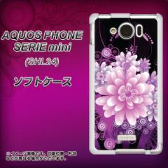 au AQUOS PHONE SERIE mini SHL24 TPU ソフトケース / やわらかカバー【564 3Dフラワー 素材ホワイト】 UV印刷 (アクオスフォンSERIE mi