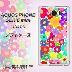 au AQUOS PHONE SERIE mini SHL24 TPU ソフトケース / やわらかカバー【782 春のルーズフラワーWH 素材ホワイト】 UV印刷 (アクオスフォ