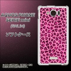 au AQUOS PHONE SERIE mini SHL24 TPU ソフトケース / やわらかカバー【1066 ヒョウ柄ベーシックS ピンク 素材ホワイト】 UV印刷 (アク