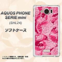 au AQUOS PHONE SERIE mini SHL24 TPU ソフトケース / やわらかカバー【SC847 フラワーヴェルニ花濃いピンク 素材ホワイト】 UV印刷 (ア