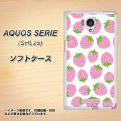 au AQUOS SERIE SHL25 TPU ソフトケース / やわらかカバー【SC809 小さいイチゴ模様 ピンク 素材ホワイト】 UV印刷 (アクオス セリエ/SH