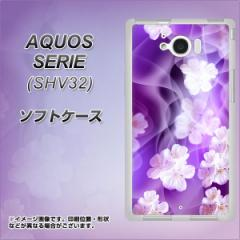 au AQUOS SERIE SHV32 TPU ソフトケース / やわらかカバー【1211 桜とパープルの風 素材ホワイト】 UV印刷 (アクオスセリエ shv32/SHV3