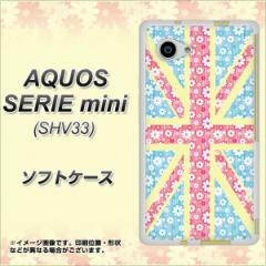 AQUOS SERIE mini SHV33 TPU ソフトケース / やわらかカバー【EK895 ユニオンジャック パステルフラワー 素材ホワイト】 UV印刷 (アクオ
