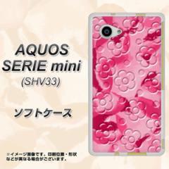 AQUOS SERIE mini SHV33 TPU ソフトケース / やわらかカバー【SC847 フラワーヴェルニ花濃いピンク 素材ホワイト】 UV印刷 (アクオス セ