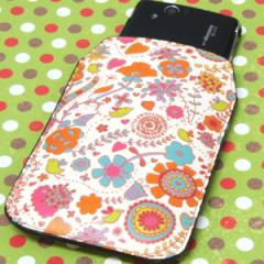 本革(レザー)スマートフォンケース【323小鳥と花】【Lロング】Xperia A/Xperia A/ELUGA P/Optimus it/Disney mobile/PANTONE 6/ASCEND/