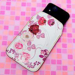 本革(レザー) スマートフォンケース【116 6月のバラ】 【Lサイズ】iPhone5/ARROWS Kiss F-03E/MEDIAS U N-02E 等汎用