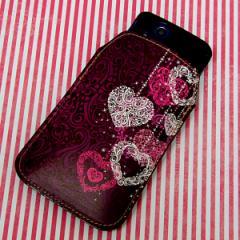 本革(レザー) スマートフォンケース【468 ハートのシャンデリア】 【Lサイズ】iPhone5/ARROWS Kiss F-03E/MEDIAS U N-02E 等汎用