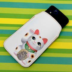 本革(レザー) スマートフォンケース【471 まねき猫】 【Lサイズ】iPhone5/ARROWS Kiss F-03E/MEDIAS U N-02E 等汎用