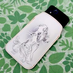 本革(レザー) スマートフォンケース【476 華をまとう少女】 【Lサイズ】iPhone5/ARROWS Kiss F-03E/MEDIAS U N-02E 等汎用