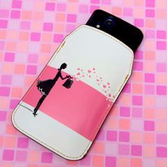 本革(レザー) スマートフォンケース【478 幸せのおすそ分け】 【Lサイズ】iPhone5/ARROWS Kiss F-03E/MEDIAS U N-02E 等汎用